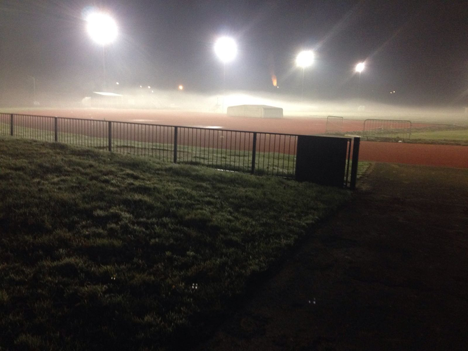 The track on a cold foggy evening.