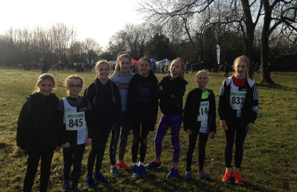 Young female Harriers at Tri-Counties XC in Bath, 2016.